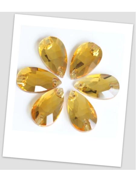 Стразы капля пришивные (стекло), 13x18 мм, цвет Topaz, цена за 1 шт. (780024)