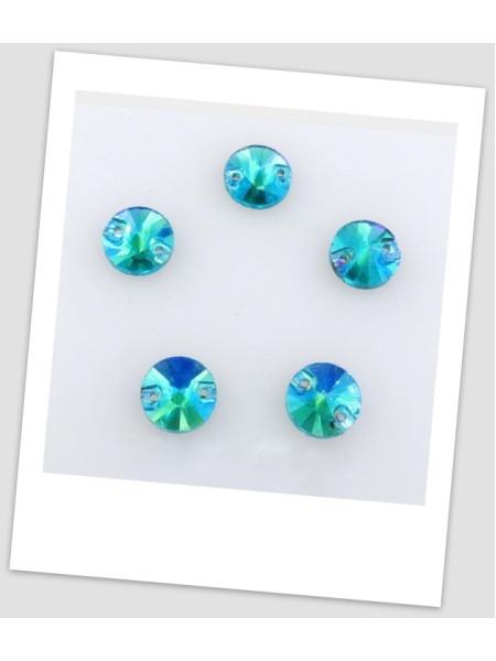 Стразы пришивные, 12 мм (стекло), цвет A3 Aquamarine AB, цена за1 шт. (780008)