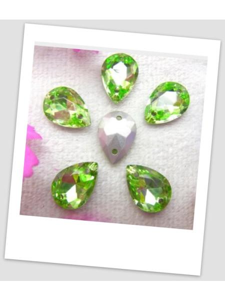 Стразы капля пришивные (стекло), 13x18 мм, цвет A11 Peridot, цена за 1 шт. (780045)