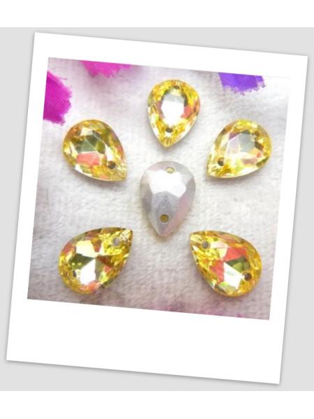 Стразы капля пришивные (стекло), 10x14 мм, цвет  A16 Jonquil, цена за 1 шт. (780033)
