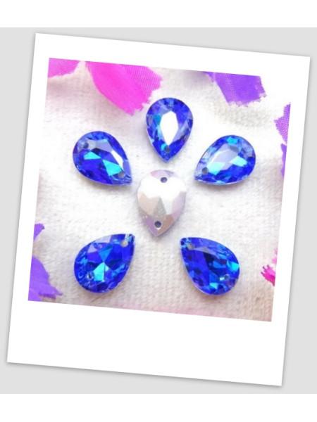 Стразы капля пришивные (стекло), 10x14 мм, цвет A18 Lt Sapphire, цена за 1 шт. (780034)