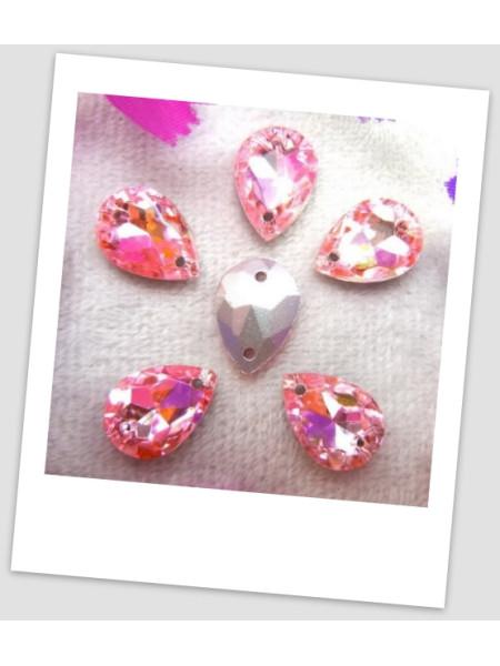 Стразы капля пришивные (стекло), 13x18 мм, цвет A25 Pink, цена за 1 шт. (780038)
