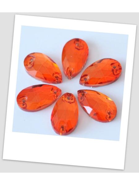 Стразы капля пришивные (стекло), 13x18 мм, цвет Orange, цена за 1 шт. (780026)