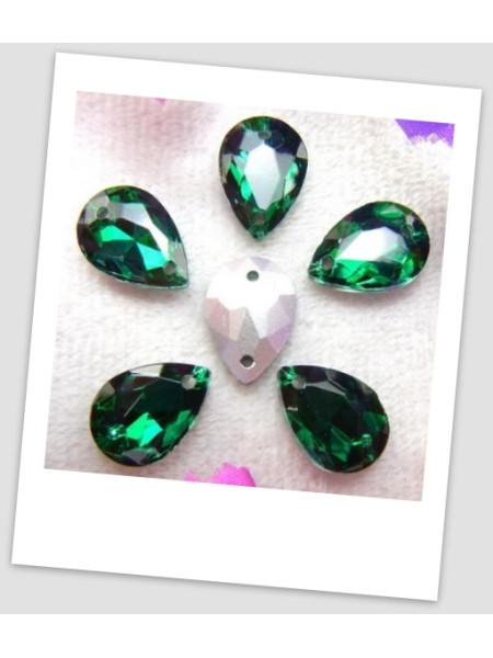 Стразы капля пришивные (стекло), 10x14 мм, цвет A4 Emerald , цена за 1 шт. (780031)