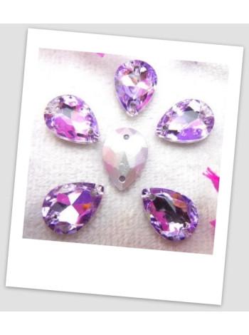 Стразы капля пришивные (стекло), 13x18 мм, цвет A19 Violet, цена за 1 шт. (780042)