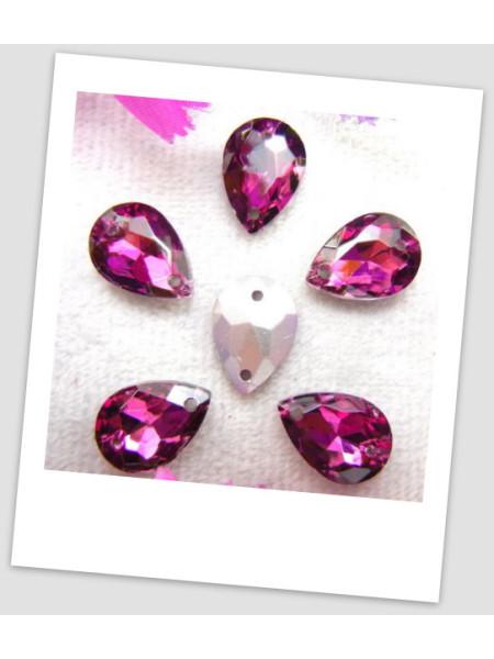 Стразы капля пришивные (стекло), 13x18 мм, цвет A5 Amethyst, цена за 1 шт. (780043)